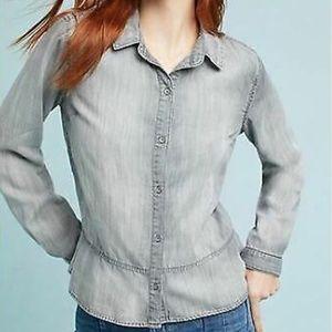 Cloth & Stone Gray Tencel Chambray Look Top XL EUC
